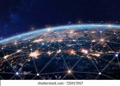 Global world telecommunication network with nodes connected around earth, concept about internet and worldwide communication technology, image from space furnished by NASA