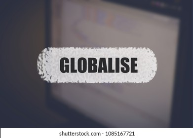 Globalise word with blurring business background