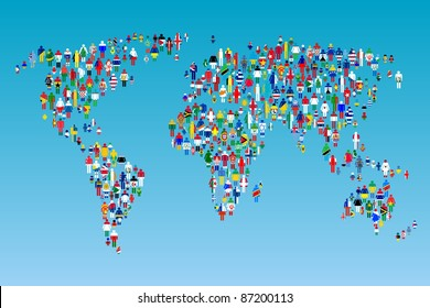 Globalizing, World map with people made from flags