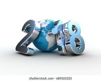 Globe and 2018 3D text on white background