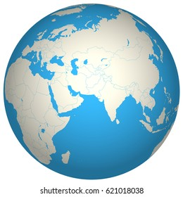 Globe 3D Europe Asia Africa continent countries