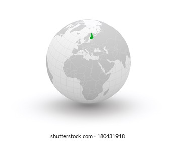 Globe. 3d. Finland. Elements of this image furnished by NASA