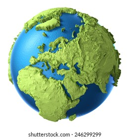 Globe 3d isolated on white background. Continent Europe. Elements of this image furnished by NASA