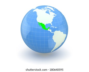 Globe. 3d. Mexico. Elements of this image furnished by NASA