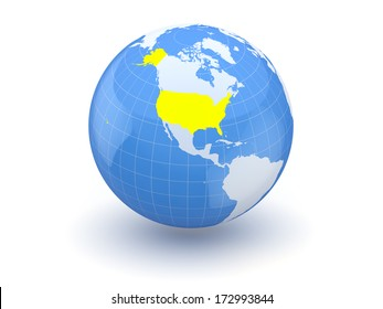 Globe. 3d. USA. Elements of this image furnished by NASA