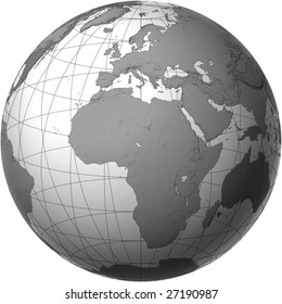 Globe with Africa View - Transparent Style