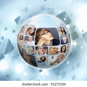 A globe against blue background with many different people's faces. Can represent a technology social network of friends and communication.