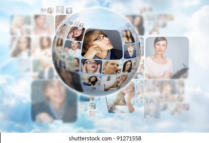 A globe against blue sky and clouds background with many different people's faces. Can represent a technology social network of friends and communication.