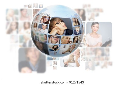 A globe against white background with many different people's faces. Can represent a technology social network of friends and communication.