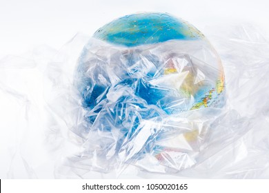 The globe is all in plastic, social advertising, world environment day concept