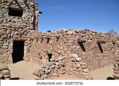 Globe, Arizona. U.S.A. January 30, 2018.  Besh Ba Gowah Archaeological Park and Museum.  Reconstruction of original Indian 200-room pueblo built by the ancient Salado people circa 1225 to 1400s