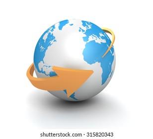 globe and arrow