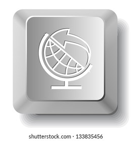Globe and arrow. Computer key. Raster illustration.