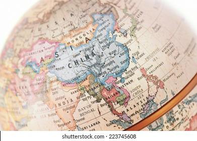 Globe Asia close-up