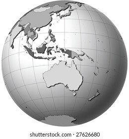 Globe with Australia View showing countries