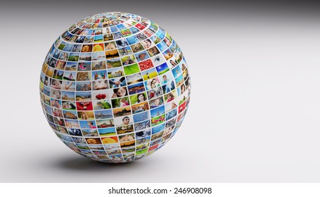 Globe, ball with various pictures of people, nature, objects, places. Concepts of social media, globalization etc.