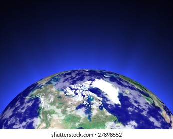 globe with blue rays