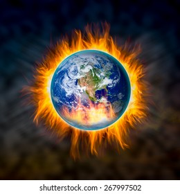 Globe catching fire in doomsday concept, Elements of this image furnished by NASA