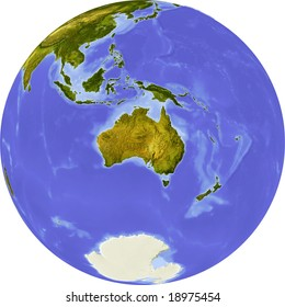globe centered on australia shaded relief colored according to vegetation shows polar and