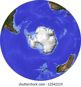 Globe, centered on the South Pole. Shaded relief colored according to dominant vegetation. Shows polar and pack ice. Isolated on white, with clipping path.