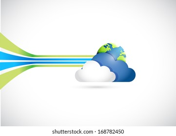 globe and cloud illustration design over a white background