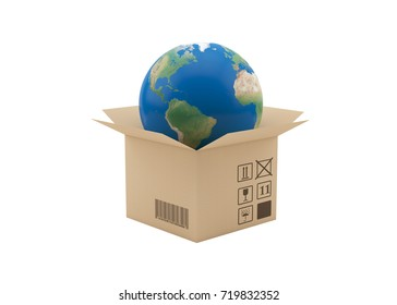 Globe coming out of cardboard box. Isolated on white background.
