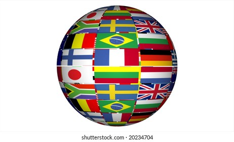 globe containing world flags