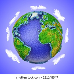 Globe of cubes on a background of sky and clouds