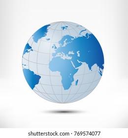 Globe earth illustration isolated on white background
