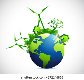 globe and eco city illustration design over a white background