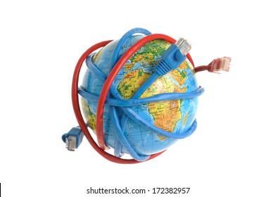 Globe embraced with computer network cable isolated