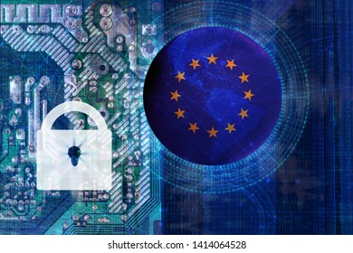 globe eu with stars, near a lock on a blue technological background, concept of data and information protection, cybercrime