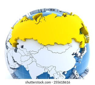 Globe with extruded continents, close-up on Russia, 3d render