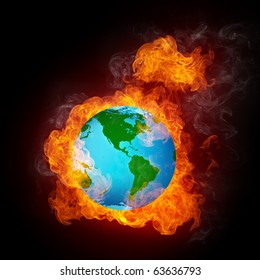 Globe in Fire. Computer Graphics.
