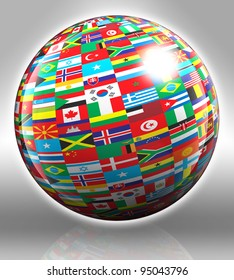 globe with flags with clipping path on grey background