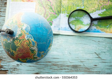 Globe with geographical maps