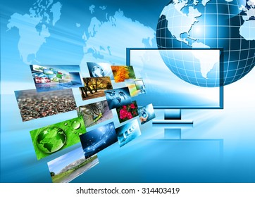 Globe and glowing lines on technological background. Technology background.Electronics, bright lines and rays, symbols of the Internet, radio, television, mobile and satellite communications
