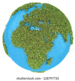 Globe of grass and water, Europe part, isolated on white background