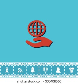 Globe with hand. Red flat symbol with dark shadow and bonus icon. Simple illustration pictogram on blue background