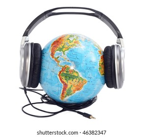 globe with headphones on it