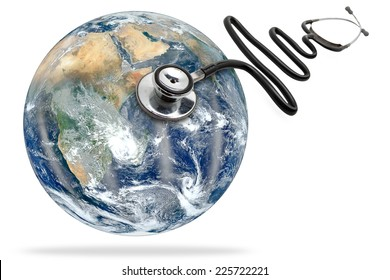 globe health and stethoscope diagnose on white background with clipping path Elements of this image furnished by NASA