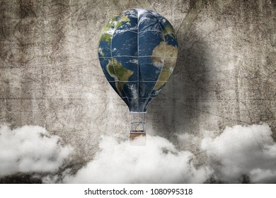 globe hot air balloon ,Earth day concept,3D rendering.Elements of this image furnished by NASA