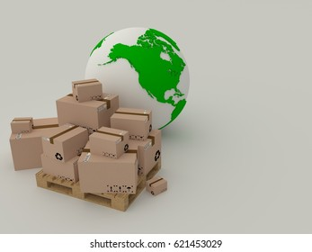 globe icon and pallet with boxes, world delivery. 3d render.
