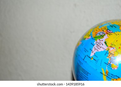 GLOBE WITH INDIA MAP FOCUSED, PICTURE TAKEN AT CHENNAI, INDIA ON 29/06/2019