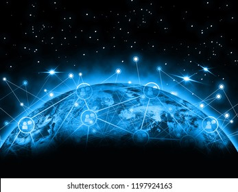 Globe internet network and telecommunication data exchanges over the planet Earth and GPS transferring data with technology in the future. The secure cyber for IOT. This image furnished by NASA.