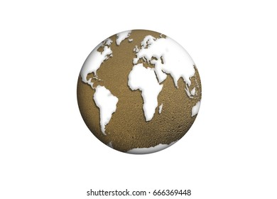 The globe isolated. Element of this image furnished by Nasa. 3D illustration.