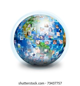 A globe is isolated on a white background with many different people's faces. Can represent a technology social network of friends and communication.