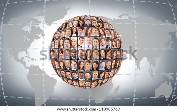 A globe is isolated on a white background with many different business people's faces