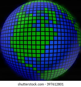 The globe of many pieces, Globe like a mosaic, Globe icon, mosaic map, abstract globe icons, business and social networks concept, planet earth, 3d