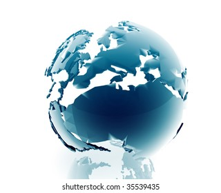 Globe map illustration of continental Europe, glossy, chrome